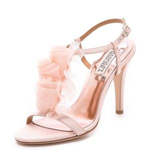 Badgley Mischka blush pink wedding shoes